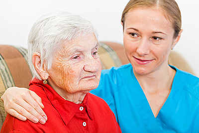 elderly woman and respite care aide